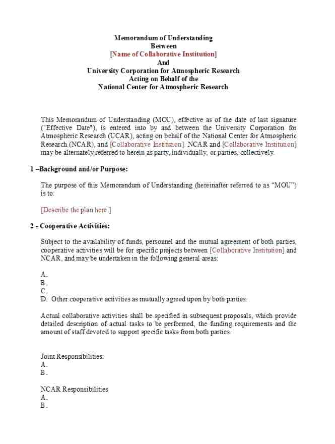 Memorandum of Understanding, to be expanded to hundreds of pages